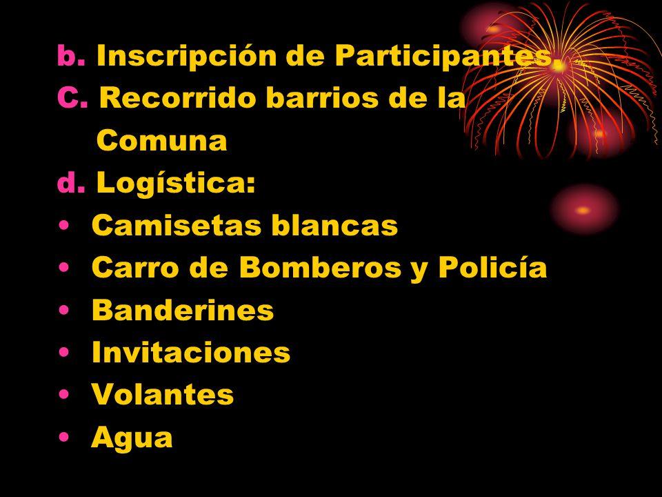 b.Inscripción de Participantes. C. Recorrido barrios de la Comuna d.