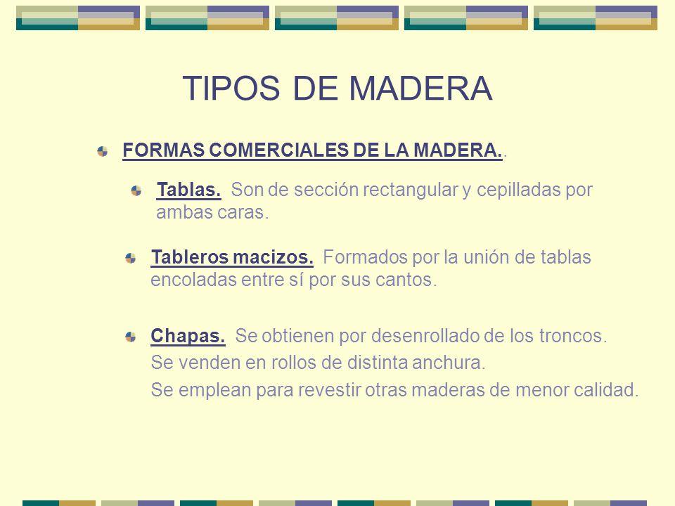 TIPOS DE MADERA FORMAS COMERCIALES DE LA MADERA.. Tablas. Son de sección rectangular y cepilladas por ambas caras. Tableros macizos. Formados por la u