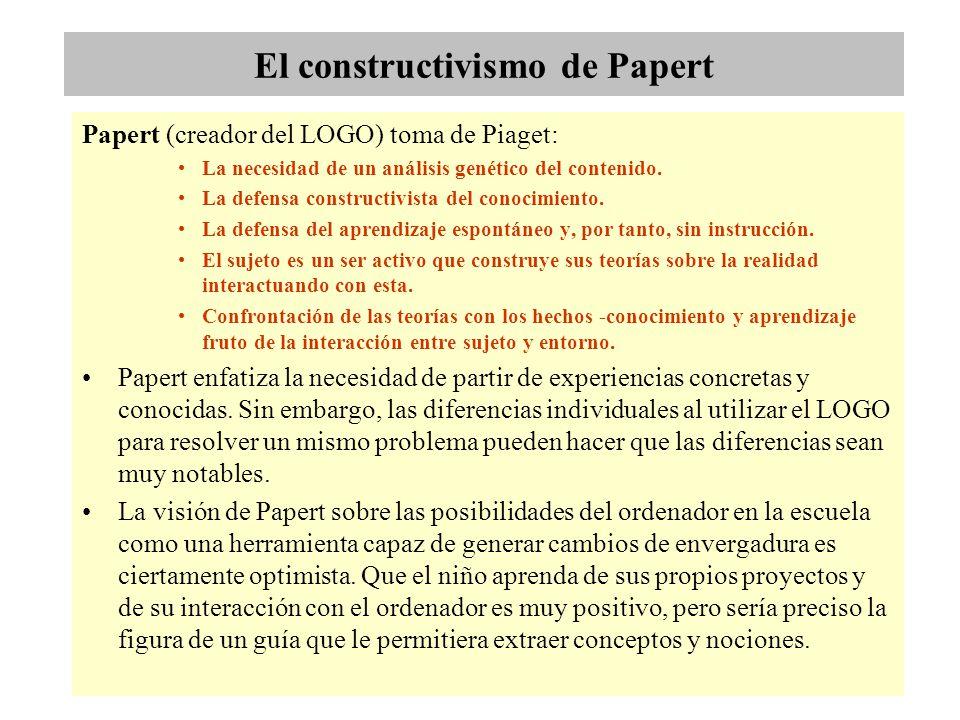 El constructivismo de Papert Papert (creador del LOGO) toma de Piaget: La necesidad de un análisis genético del contenido. La defensa constructivista