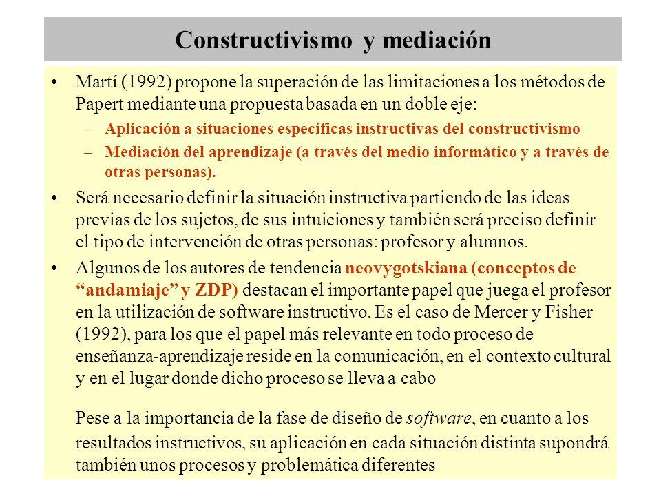 Constructivismo y mediación Martí (1992) propone la superación de las limitaciones a los métodos de Papert mediante una propuesta basada en un doble eje: –Aplicación a situaciones específicas instructivas del constructivismo –Mediación del aprendizaje (a través del medio informático y a través de otras personas).