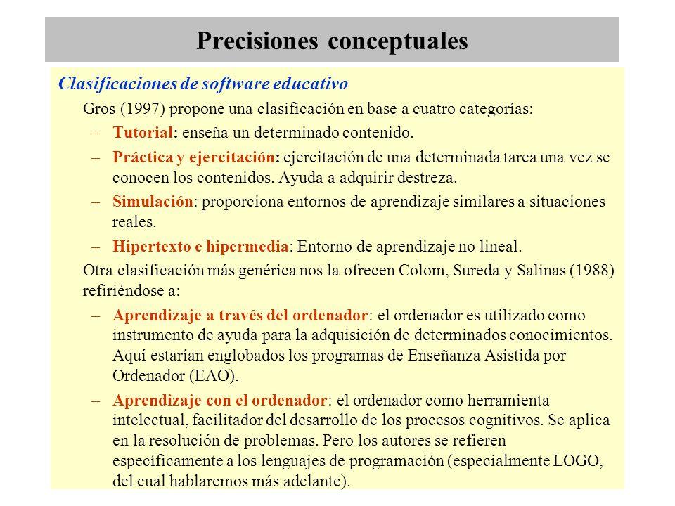 Precisiones conceptuales Clasificaciones de software educativo Gros (1997) propone una clasificación en base a cuatro categorías: –Tutorial: enseña un