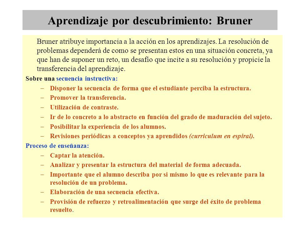 Aprendizaje por descubrimiento: Bruner Bruner atribuye importancia a la acción en los aprendizajes. La resolución de problemas dependerá de como se pr
