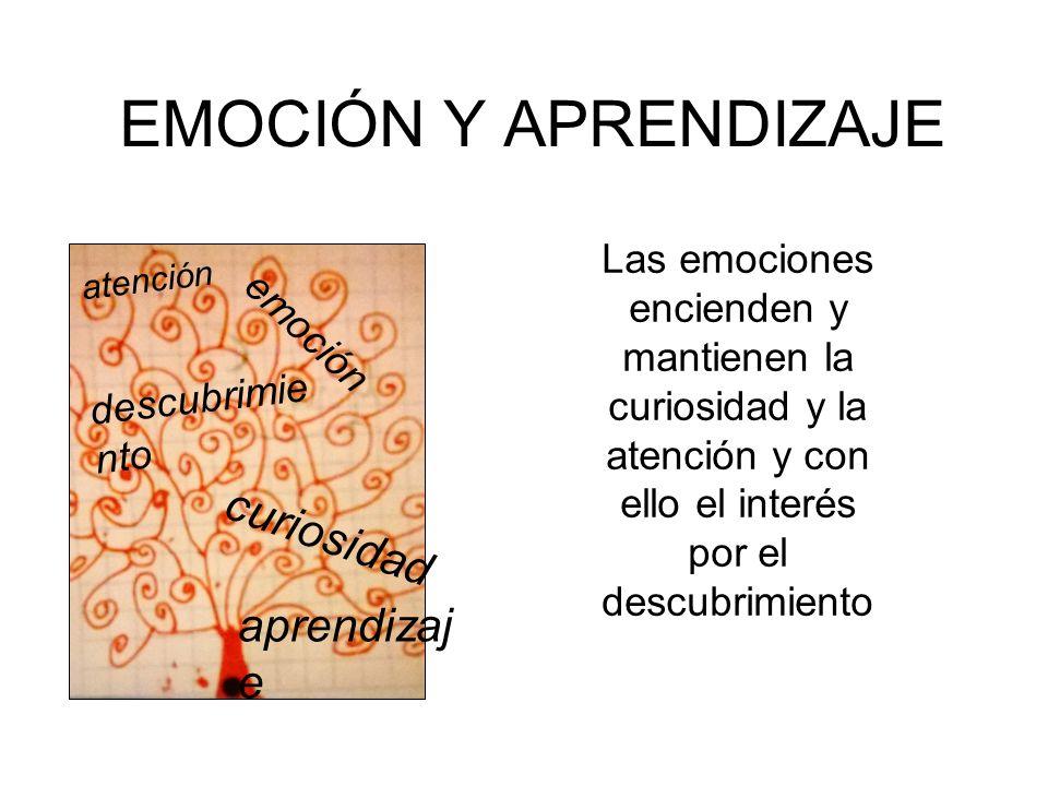 EMOCIÓN Y APRENDIZAJE Las emociones encienden y mantienen la curiosidad y la atención y con ello el interés por el descubrimiento descubrimie nto emoción curiosidad atención aprendizaj e