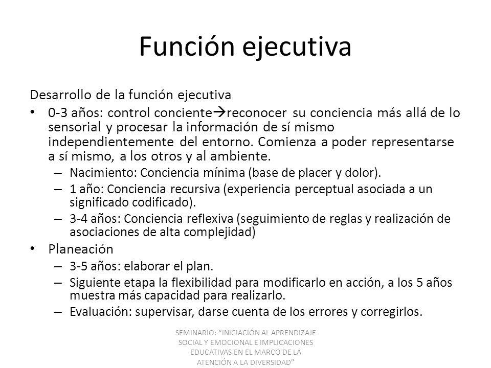 Función ejecutiva Desarrollo de la función ejecutiva 0-3 años: control conciente reconocer su conciencia más allá de lo sensorial y procesar la inform