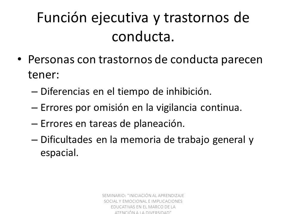 Función ejecutiva y trastornos de conducta. Personas con trastornos de conducta parecen tener: – Diferencias en el tiempo de inhibición. – Errores por
