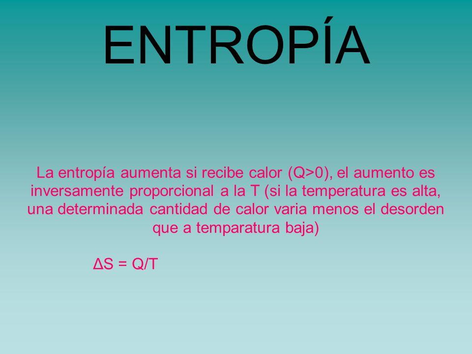 ENTROPÍA La entropía aumenta si recibe calor (Q>0), el aumento es inversamente proporcional a la T (si la temperatura es alta, una determinada cantidad de calor varia menos el desorden que a temparatura baja) ΔS = Q/T