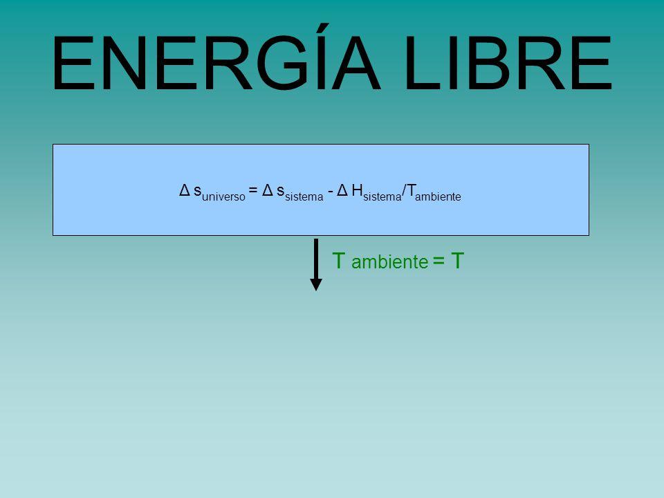 s universo = s sistema - H sistema /TΔ s universo = Δ s sistema - Δ H sistema /T ambiente ENERGÍA LIBRE T ambiente = T