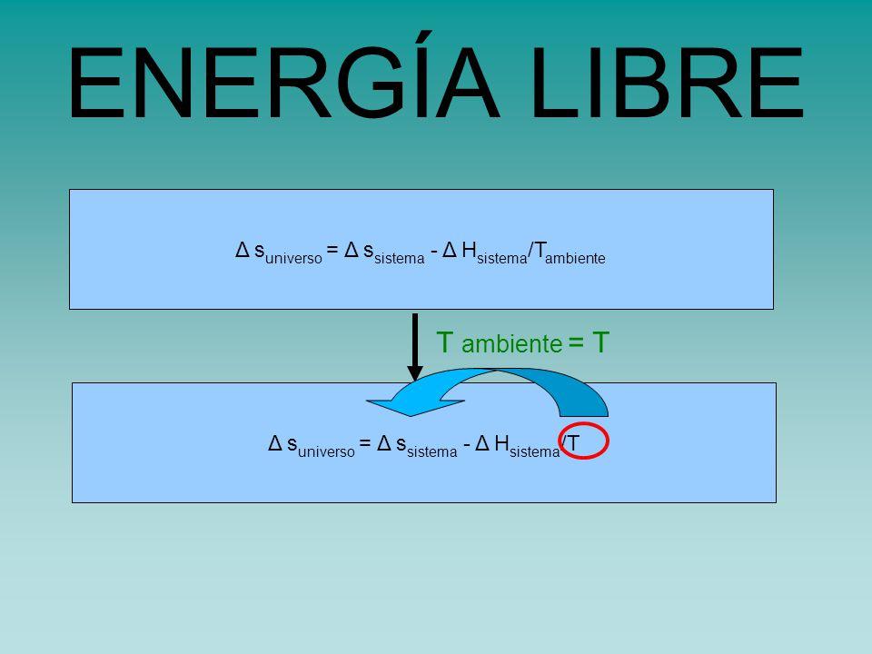s universo = s sistema - H sistema /TΔ s universo = Δ s sistema - Δ H sistema /T ambiente ENERGÍA LIBRE T ambiente = T Δ s universo = Δ s sistema - Δ H sistema /T