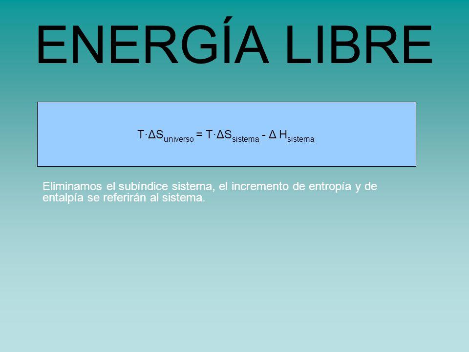 s universo = s sistema - H sistema /TT·ΔS universo = T·ΔS sistema - Δ H sistema ENERGÍA LIBRE Eliminamos el subíndice sistema, el incremento de entropía y de entalpía se referirán al sistema.