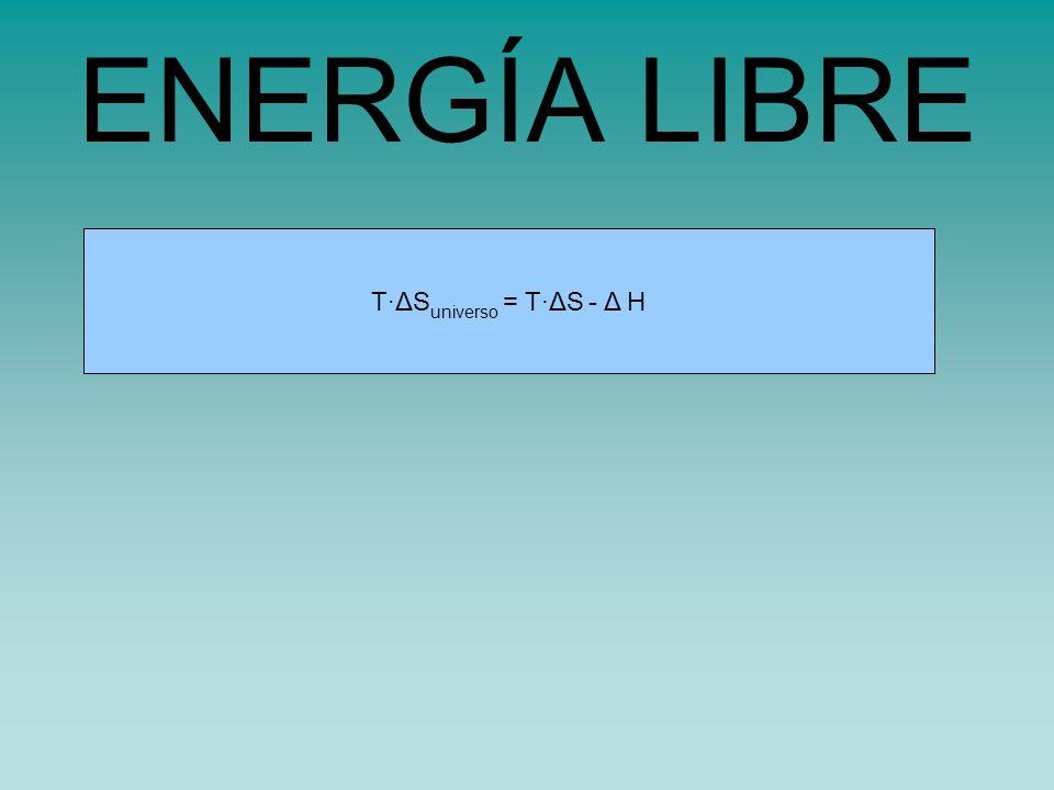 s universo = s sistema - H sistema /TT·ΔS universo = T·ΔS - Δ H ENERGÍA LIBRE