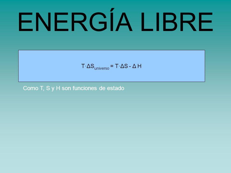 s universo = s sistema - H sistema /TT·ΔS universo = T·ΔS - Δ H ENERGÍA LIBRE Como T, S y H son funciones de estado