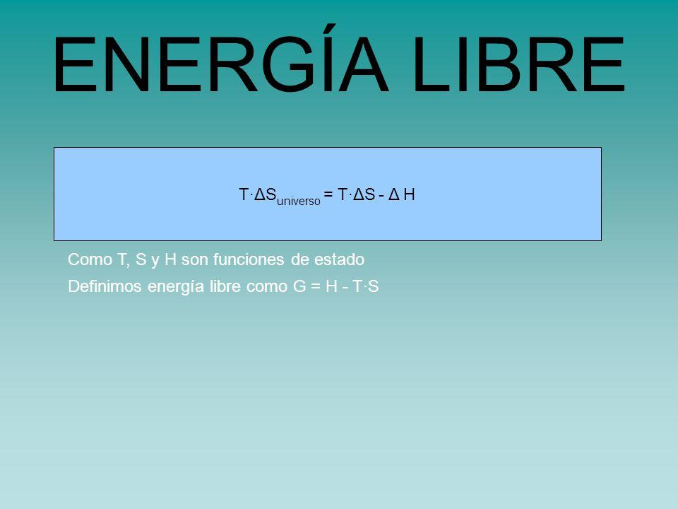 s universo = s sistema - H sistema /TT·ΔS universo = T·ΔS - Δ H ENERGÍA LIBRE Como T, S y H son funciones de estado Definimos energía libre como G = H - T·S