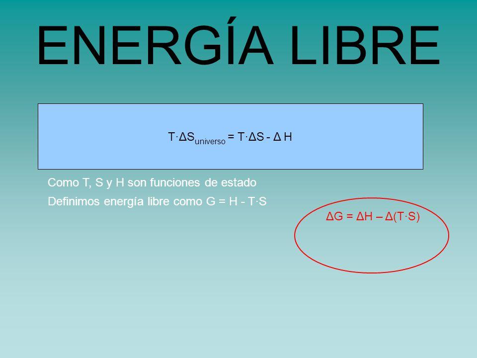 s universo = s sistema - H sistema /TT·ΔS universo = T·ΔS - Δ H ENERGÍA LIBRE Como T, S y H son funciones de estado Definimos energía libre como G = H - T·S ΔG = ΔH – Δ(T·S)