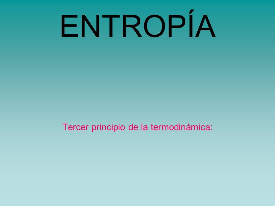 ENTROPÍA Tercer principio de la termodinámica: