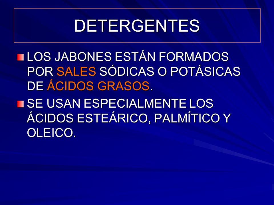 DETERGENTES LOS JABONES ESTÁN FORMADOS POR SALES SÓDICAS O POTÁSICAS DE ÁCIDOS GRASOS. SE USAN ESPECIALMENTE LOS ÁCIDOS ESTEÁRICO, PALMÍTICO Y OLEICO.
