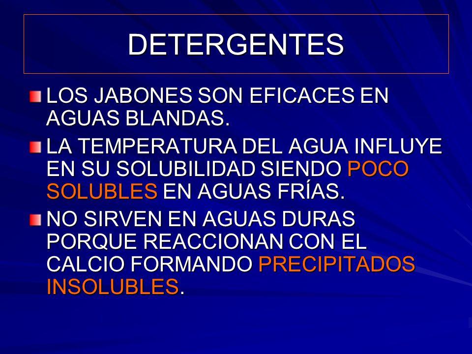 DETERGENTES LOS JABONES SON EFICACES EN AGUAS BLANDAS. LA TEMPERATURA DEL AGUA INFLUYE EN SU SOLUBILIDAD SIENDO POCO SOLUBLES EN AGUAS FRÍAS. NO SIRVE
