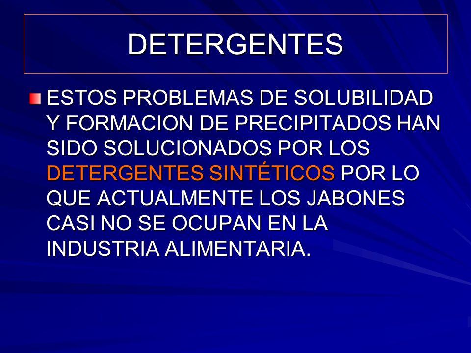 DETERGENTES ESTOS PROBLEMAS DE SOLUBILIDAD Y FORMACION DE PRECIPITADOS HAN SIDO SOLUCIONADOS POR LOS DETERGENTES SINTÉTICOS POR LO QUE ACTUALMENTE LOS