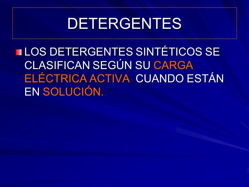 DETERGENTES LOS DETERGENTES SINTÉTICOS SE CLASIFICAN SEGÚN SU CARGA ELÉCTRICA ACTIVA CUANDO ESTÁN EN SOLUCIÓN.