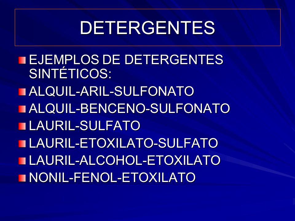 DETERGENTES EJEMPLOS DE DETERGENTES SINTÉTICOS: ALQUIL-ARIL-SULFONATOALQUIL-BENCENO-SULFONATOLAURIL-SULFATOLAURIL-ETOXILATO-SULFATOLAURIL-ALCOHOL-ETOX