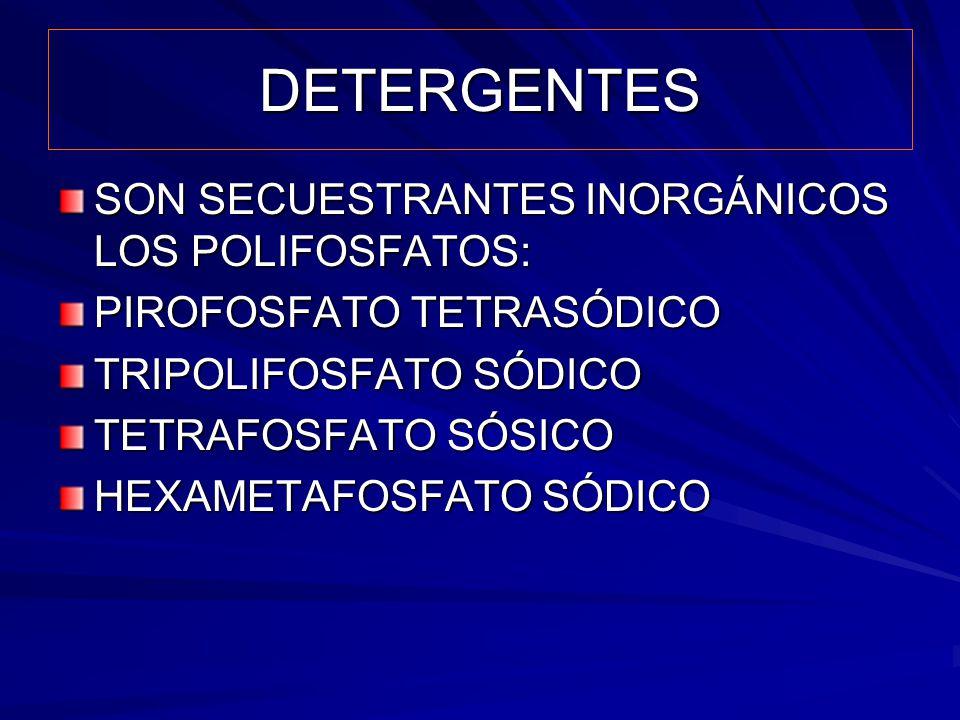 DETERGENTES SON SECUESTRANTES INORGÁNICOS LOS POLIFOSFATOS: PIROFOSFATO TETRASÓDICO TRIPOLIFOSFATO SÓDICO TETRAFOSFATO SÓSICO HEXAMETAFOSFATO SÓDICO