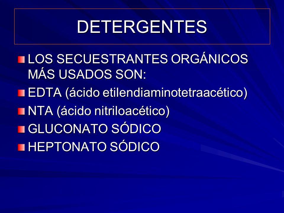 DETERGENTES LOS SECUESTRANTES ORGÁNICOS MÁS USADOS SON: EDTA (ácido etilendiaminotetraacético) NTA (ácido nitriloacético) GLUCONATO SÓDICO HEPTONATO S