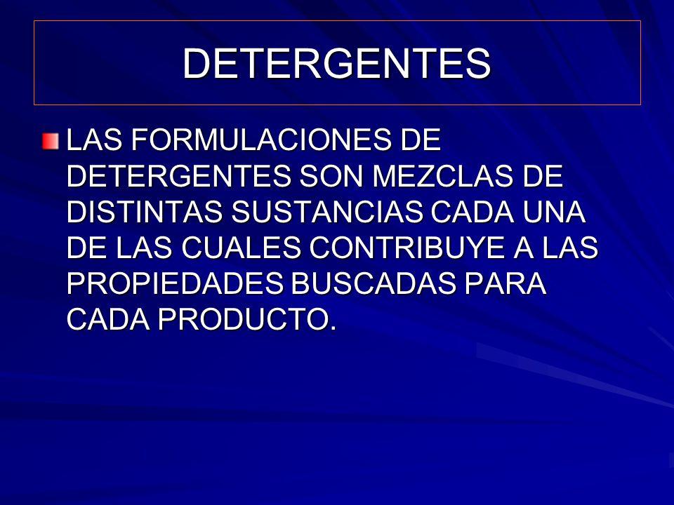 DETERGENTES LAS FORMULACIONES DE DETERGENTES SON MEZCLAS DE DISTINTAS SUSTANCIAS CADA UNA DE LAS CUALES CONTRIBUYE A LAS PROPIEDADES BUSCADAS PARA CAD