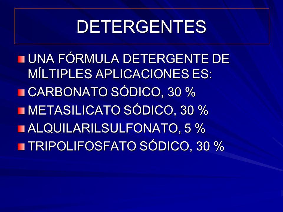 DETERGENTES UNA FÓRMULA DETERGENTE DE MÍLTIPLES APLICACIONES ES: CARBONATO SÓDICO, 30 % METASILICATO SÓDICO, 30 % ALQUILARILSULFONATO, 5 % TRIPOLIFOSF