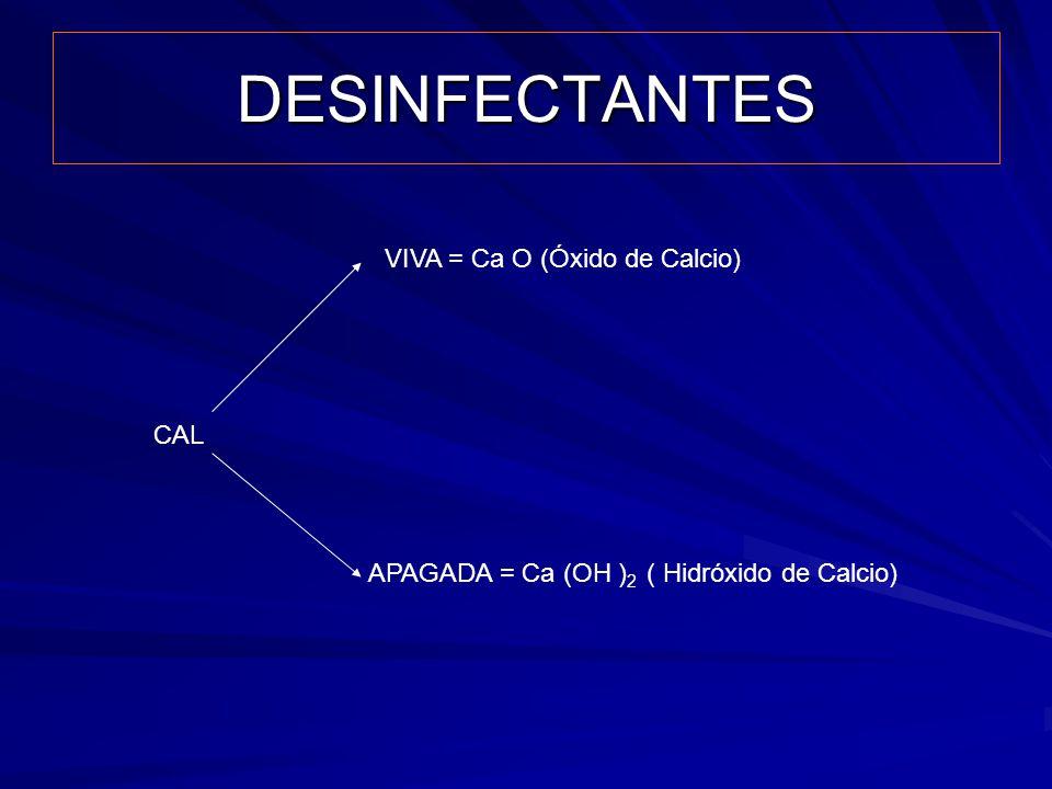 DESINFECTANTES CAL VIVA = Ca O (Óxido de Calcio) APAGADA = Ca (OH ) 2 ( Hidróxido de Calcio)