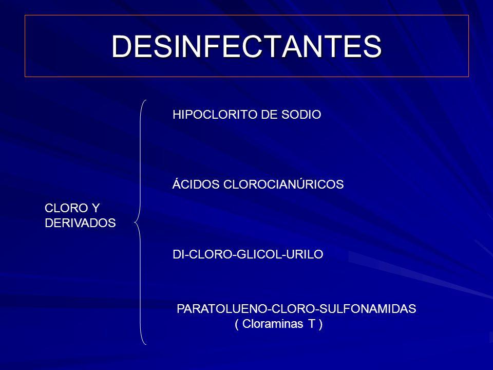 DESINFECTANTES CLORO Y DERIVADOS HIPOCLORITO DE SODIO ÁCIDOS CLOROCIANÚRICOS DI-CLORO-GLICOL-URILO PARATOLUENO-CLORO-SULFONAMIDAS ( Cloraminas T )