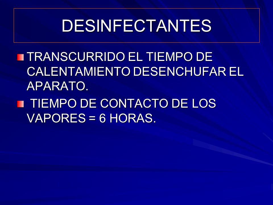 DESINFECTANTES TRANSCURRIDO EL TIEMPO DE CALENTAMIENTO DESENCHUFAR EL APARATO. TIEMPO DE CONTACTO DE LOS VAPORES = 6 HORAS. TIEMPO DE CONTACTO DE LOS