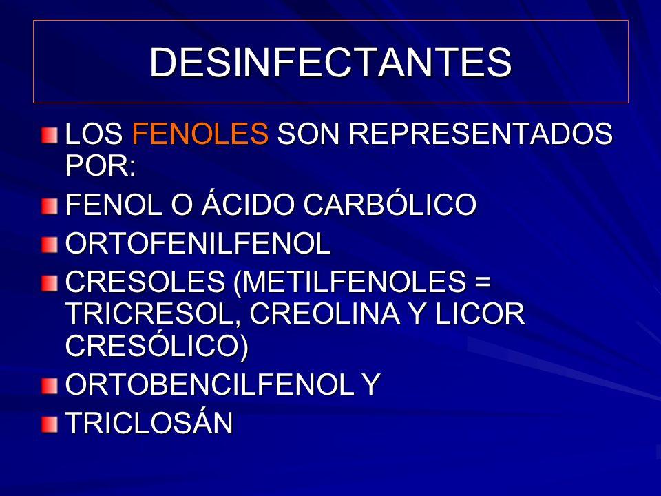 DESINFECTANTES LOS FENOLES SON REPRESENTADOS POR: FENOL O ÁCIDO CARBÓLICO ORTOFENILFENOL CRESOLES (METILFENOLES = TRICRESOL, CREOLINA Y LICOR CRESÓLIC
