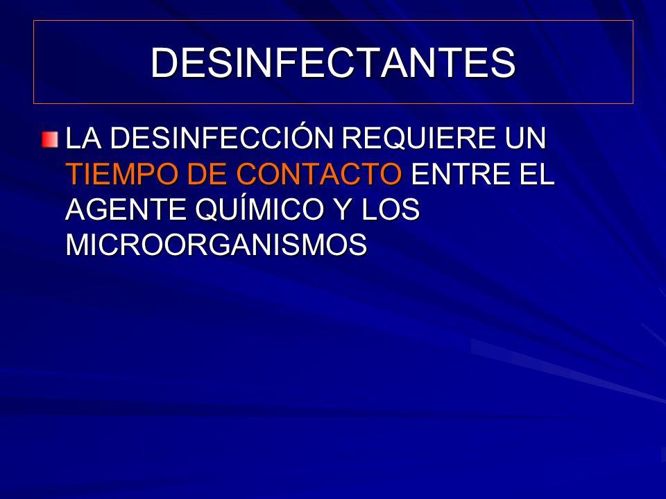 DESINFECTANTES LA DESINFECCIÓN REQUIERE UN TIEMPO DE CONTACTO ENTRE EL AGENTE QUÍMICO Y LOS MICROORGANISMOS