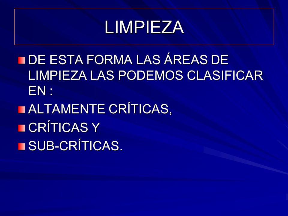 LIMPIEZA DE ESTA FORMA LAS ÁREAS DE LIMPIEZA LAS PODEMOS CLASIFICAR EN : ALTAMENTE CRÍTICAS, CRÍTICAS Y SUB-CRÍTICAS.