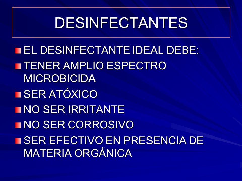 DESINFECTANTES EL DESINFECTANTE IDEAL DEBE: TENER AMPLIO ESPECTRO MICROBICIDA SER ATÓXICO NO SER IRRITANTE NO SER CORROSIVO SER EFECTIVO EN PRESENCIA