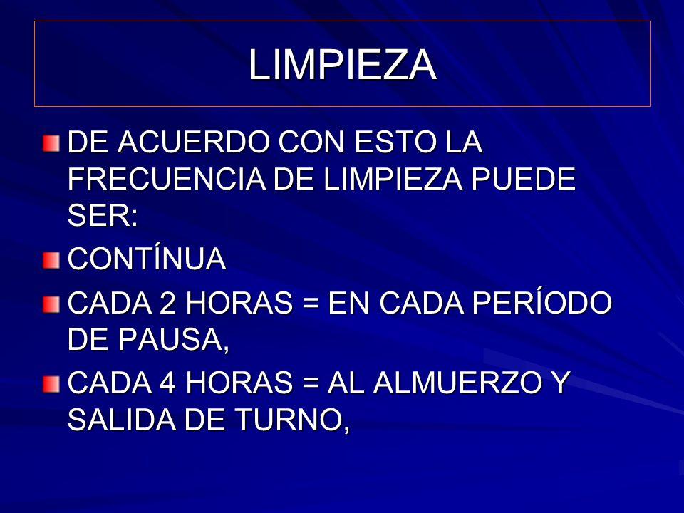 LIMPIEZA DE ACUERDO CON ESTO LA FRECUENCIA DE LIMPIEZA PUEDE SER: CONTÍNUA CADA 2 HORAS = EN CADA PERÍODO DE PAUSA, CADA 4 HORAS = AL ALMUERZO Y SALID