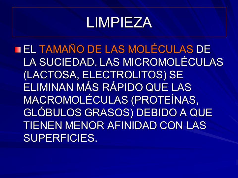 LIMPIEZA EL TAMAÑO DE LAS MOLÉCULAS DE LA SUCIEDAD. LAS MICROMOLÉCULAS (LACTOSA, ELECTROLITOS) SE ELIMINAN MÁS RÁPIDO QUE LAS MACROMOLÉCULAS (PROTEÍNA