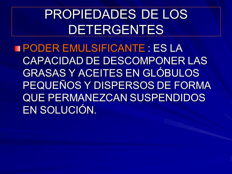 PROPIEDADES DE LOS DETERGENTES PODER EMULSIFICANTE : ES LA CAPACIDAD DE DESCOMPONER LAS GRASAS Y ACEITES EN GLÓBULOS PEQUEÑOS Y DISPERSOS DE FORMA QUE