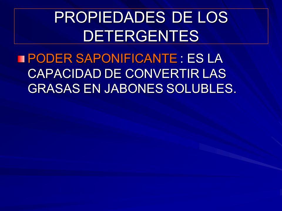 PROPIEDADES DE LOS DETERGENTES PODER SAPONIFICANTE : ES LA CAPACIDAD DE CONVERTIR LAS GRASAS EN JABONES SOLUBLES.