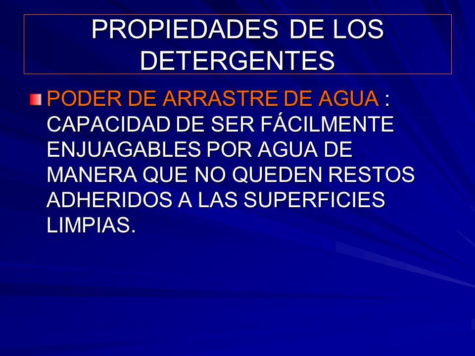 PROPIEDADES DE LOS DETERGENTES PODER DE ARRASTRE DE AGUA : CAPACIDAD DE SER FÁCILMENTE ENJUAGABLES POR AGUA DE MANERA QUE NO QUEDEN RESTOS ADHERIDOS A