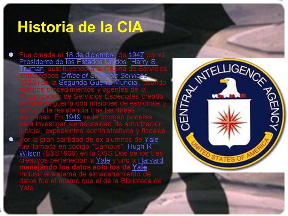 La CIA La Agencia Central de Inteligencia (CIA, Central Intelligence Agency) es, junto con la Agencia de Seguridad Nacional, la agencia gubernamental