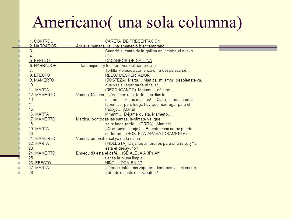 Americano( una sola columna) 1.CONTROLCARETA DE PRESENTACIÓN 2.