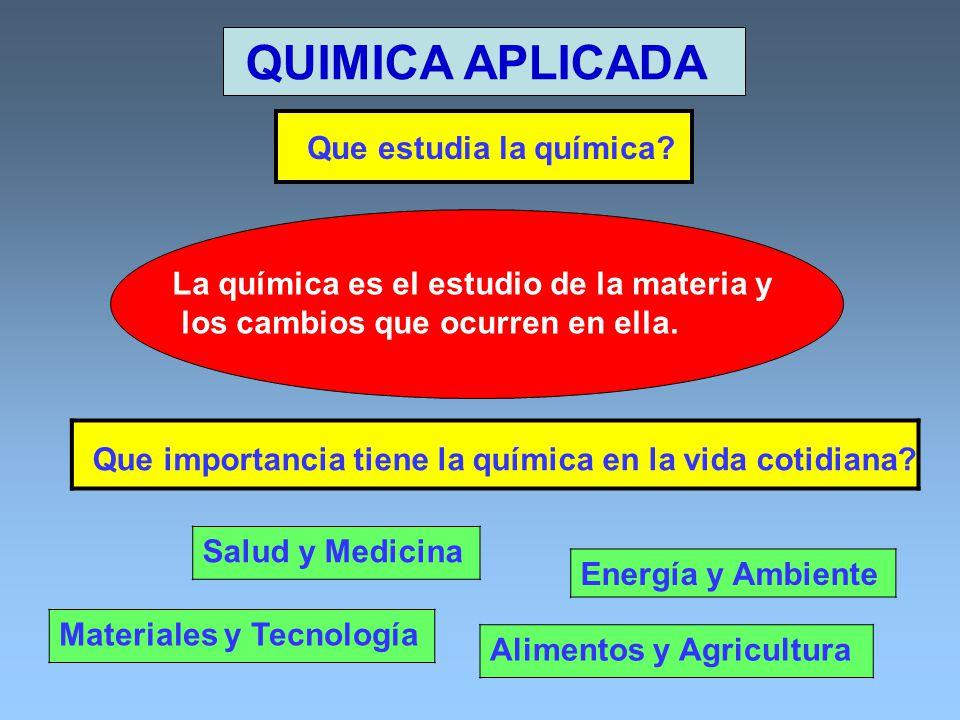 QUIMICA APLICADA Salud y Medicina Alimentos y Agricultura Energía y Ambiente Materiales y Tecnología Que importancia tiene la química en la vida cotid