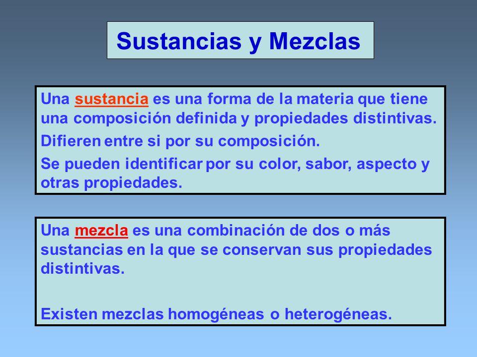 Sustancias y Mezclas Una sustancia es una forma de la materia que tiene una composición definida y propiedades distintivas. Difieren entre si por su c