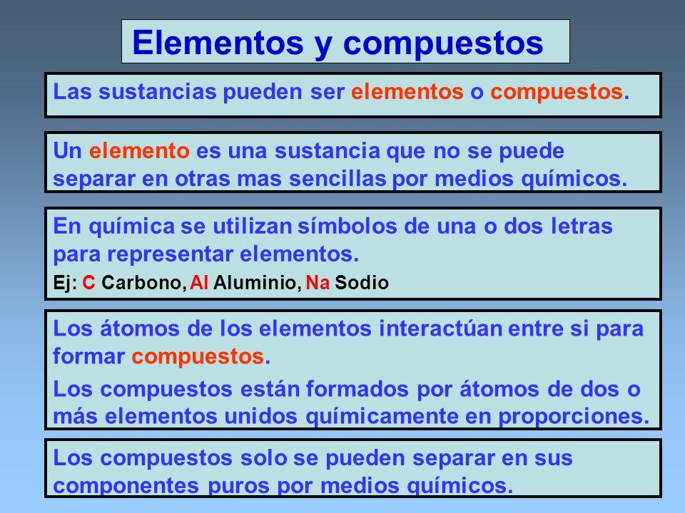 Elementos y compuestos Las sustancias pueden ser elementos o compuestos. Un elemento es una sustancia que no se puede separar en otras mas sencillas p