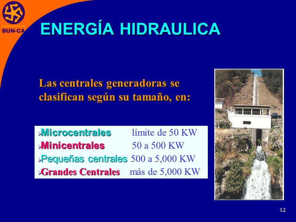 12 Las centrales generadoras se clasifican según su tamaño, en: Microcentrales Microcentrales límite de 50 KW Minicentrales Minicentrales 50 a 500 KW Pequeñas centrales Pequeñas centrales 500 a 5,000 KW Grandes Centrales Grandes Centrales más de 5,000 KW ENERGÍA HIDRAULICA