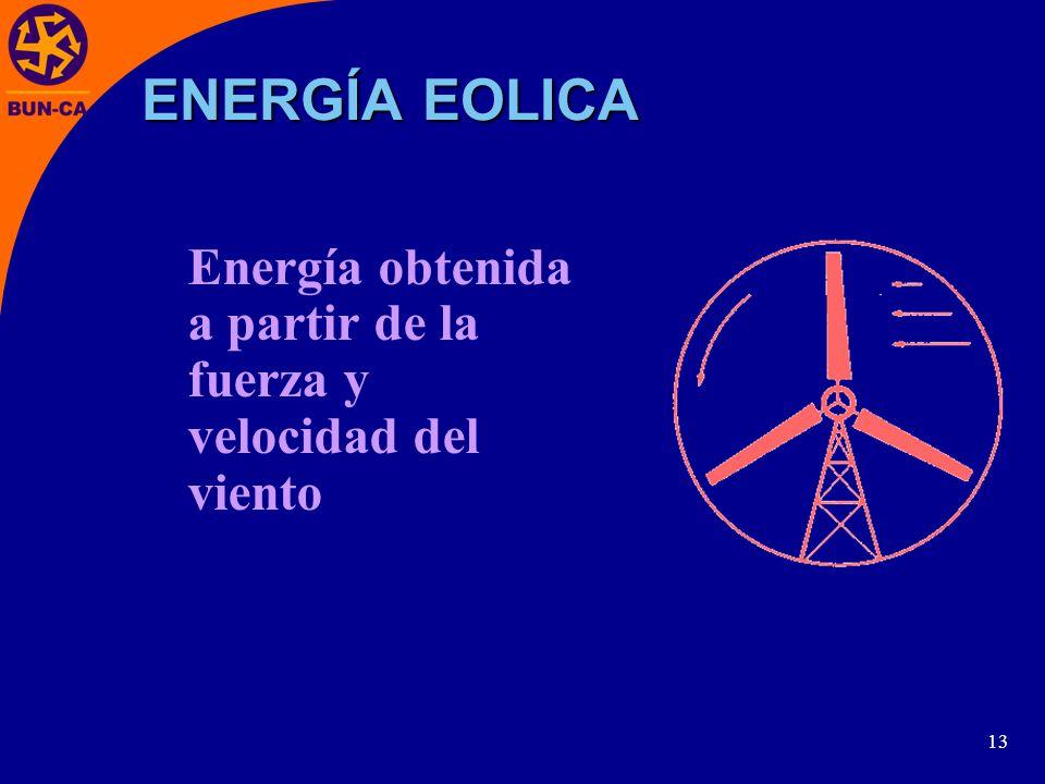 13 Energía obtenida a partir de la fuerza y velocidad del viento ENERGÍA EOLICA