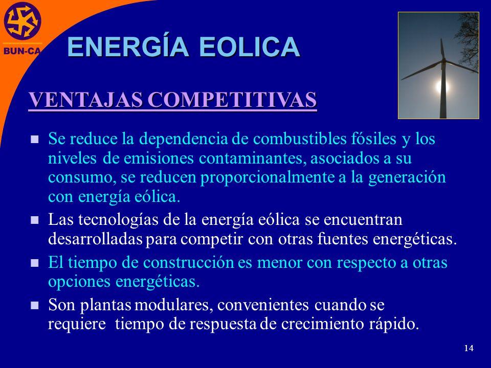 14 Se reduce la dependencia de combustibles fósiles y los niveles de emisiones contaminantes, asociados a su consumo, se reducen proporcionalmente a la generación con energía eólica.