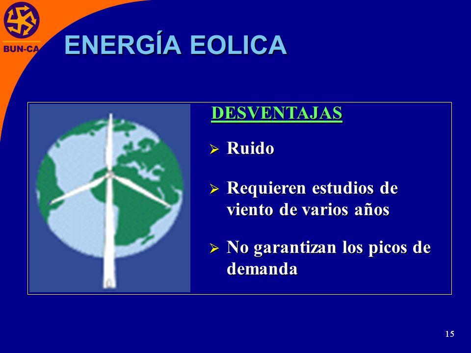 15 Ruido Ruido Requieren estudios de viento de varios años Requieren estudios de viento de varios años No garantizan los picos de demanda No garantizan los picos de demanda DESVENTAJAS ENERGÍA EOLICA