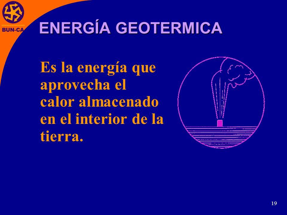19 Es la energía que aprovecha el calor almacenado en el interior de la tierra. ENERGÍA GEOTERMICA