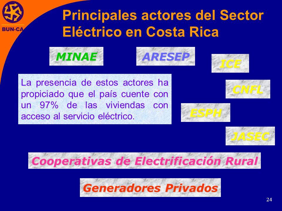 24 Principales actores del Sector Eléctrico en Costa Rica Generadores Privados Generadores Privados JASEC Cooperativas de Electrificación Rural Cooperativas de Electrificación Rural CNFL ICE La presencia de estos actores ha propiciado que el país cuente con un 97% de las viviendas con acceso al servicio eléctrico.